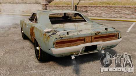 Dodge Charger RT 1969 ржавый v1.1 для GTA 4 вид сзади слева