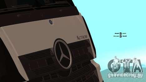 Mercedes-Benz Actros для GTA San Andreas вид изнутри