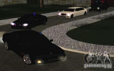 BMW 750iL E38 с мигалками для GTA San Andreas вид сзади
