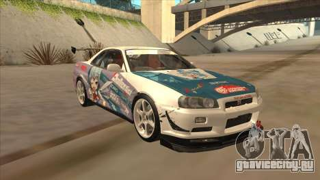 Nissan Skyline R34 Itasha для GTA San Andreas вид сзади