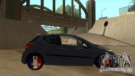 Peugeot 207 RC для GTA San Andreas вид сзади слева