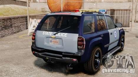 Chevrolet Trailblazer 2002 Massachusetts Police для GTA 4 вид сзади слева