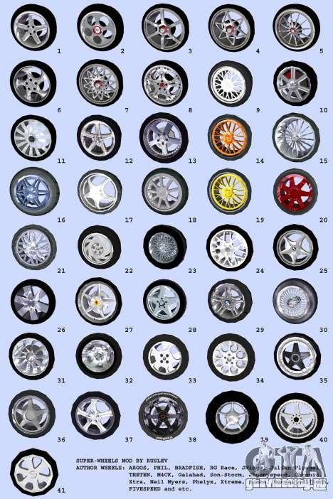 Super Wheel Mods v2 для GTA Vice City