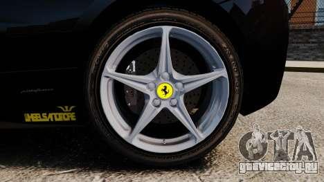 Ferrari 458 Italia 2010 Wheelsandmore 2013 для GTA 4 вид сбоку