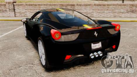 Ferrari 458 Italia 2010 Wheelsandmore 2013 для GTA 4 вид сзади