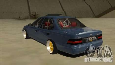 Toyota Corolla 1.6 1997 Hellaflush для GTA San Andreas вид сзади