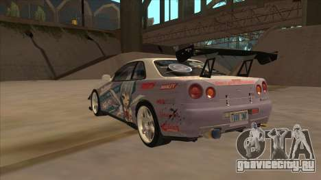 Nissan Skyline R34 Itasha для GTA San Andreas вид справа