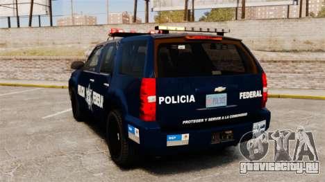 Chevrolet Tahoe 2007 De La Policia Federal [ELS] для GTA 4 вид сзади слева