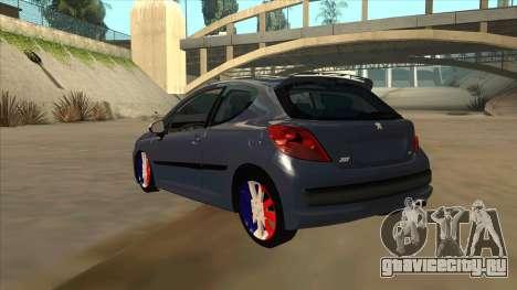 Peugeot 207 RC для GTA San Andreas вид сзади