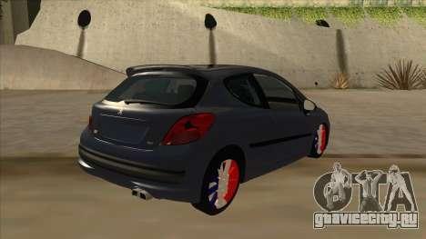 Peugeot 207 RC для GTA San Andreas вид справа