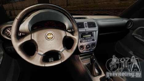 Subaru Impreza WRX 2001 для GTA 4 вид изнутри