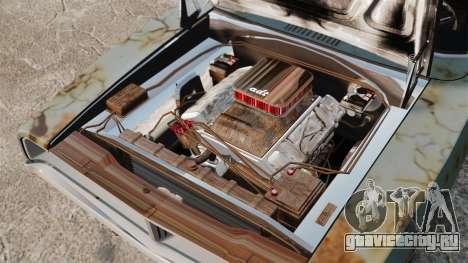 Dodge Charger RT 1969 ржавый v1.1 для GTA 4 вид изнутри