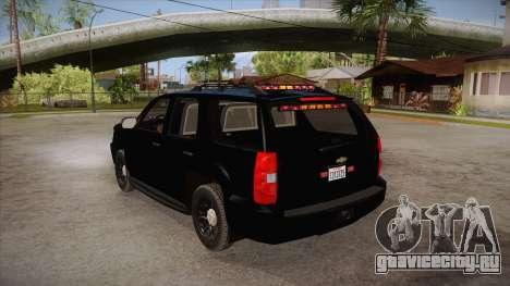 Chevrolet Tahoe LTZ 2013 Unmarked Police для GTA San Andreas вид сзади слева