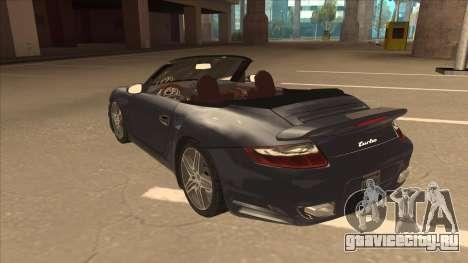Porsche 911 Turbo Cabriolet 2008 для GTA San Andreas вид сзади
