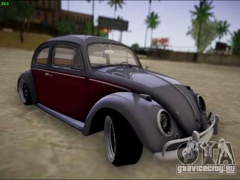 Volkswagen Beetle для GTA San Andreas вид изнутри