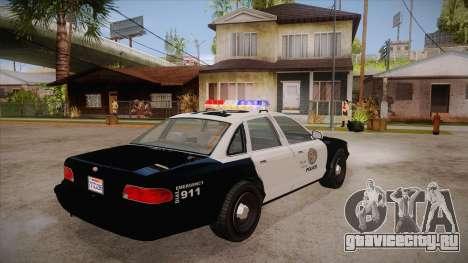 Vapid GTA V Police Car для GTA San Andreas вид справа