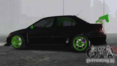 Mitsubishi Lancer Evolution VII Freestyle для GTA 4 вид слева