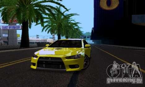 Mitsubishi Lancer Evo Drift Edition для GTA San Andreas вид изнутри