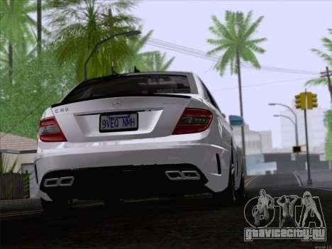 Mercedes-Benz C 63 AMG для GTA San Andreas вид сзади слева