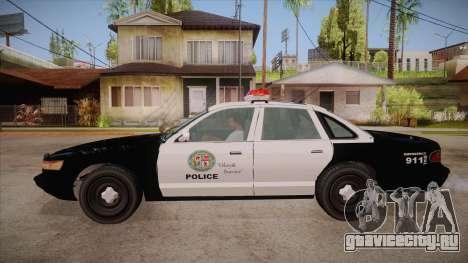 Vapid GTA V Police Car для GTA San Andreas вид слева