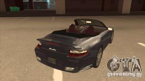 Porsche 911 Turbo Cabriolet 2008 для GTA San Andreas вид справа