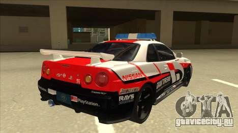Nissan Skyline BNR34 GT4 Pace Car для GTA San Andreas вид справа