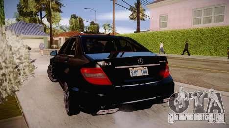 Mercedes-Benz C 63 AMG для GTA San Andreas вид справа