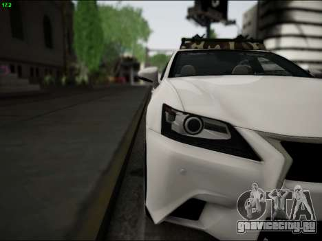 Lexus GS 350 для GTA San Andreas вид изнутри