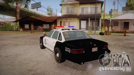 Vapid GTA V Police Car для GTA San Andreas вид сзади слева