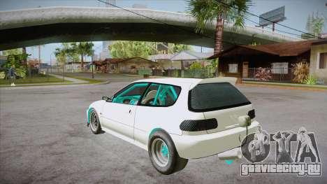 Honda Civic (EG6) Drag Style для GTA San Andreas вид сзади слева