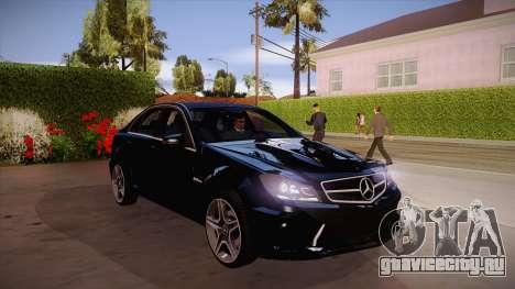Mercedes-Benz C 63 AMG для GTA San Andreas вид изнутри
