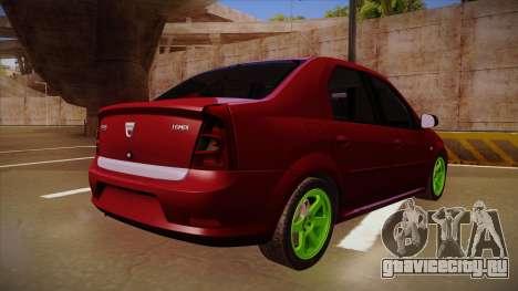 Dacia Logan Hellaflush для GTA San Andreas вид сзади