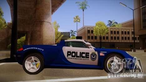 Porsche Carrera GT 2004 Police Blue для GTA San Andreas вид сзади слева