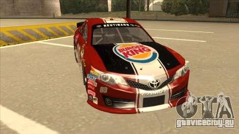 Toyota Camry NASCAR No. 83 Burger King Dr Pepper для GTA San Andreas вид слева