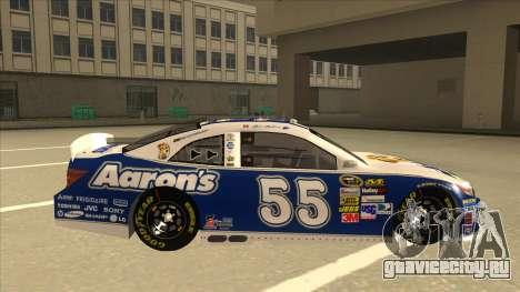 Toyota Camry NASCAR No. 55 Aarons DM blue-white для GTA San Andreas вид сзади слева