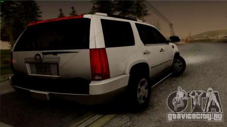 Cadillac Escalade для GTA San Andreas вид слева