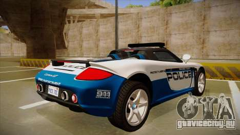 Porsche Carrera GT 2004 Police White для GTA San Andreas вид справа