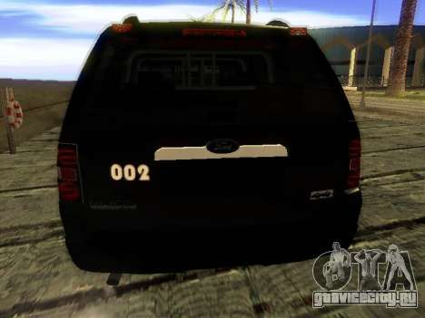 Ford Explorer 2010 Police Interceptor для GTA San Andreas вид сзади слева