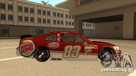 Toyota Camry NASCAR No. 83 Burger King Dr Pepper для GTA San Andreas вид сзади слева