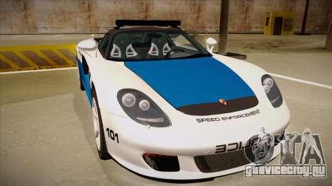 Porsche Carrera GT 2004 Police White для GTA San Andreas вид слева