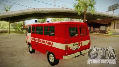 UAZ 452 Пожарный штабной для GTA San Andreas вид сзади слева