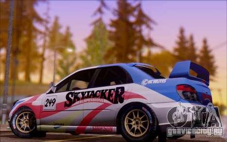 Subaru Impreza WRX STI WRC для GTA San Andreas вид изнутри