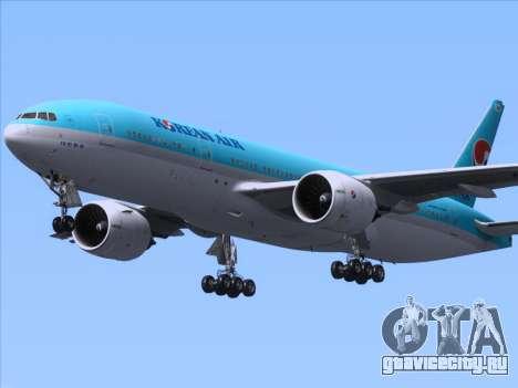 Boeing 777-2B5ER Korean Air для GTA San Andreas вид изнутри