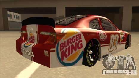 Toyota Camry NASCAR No. 83 Burger King Dr Pepper для GTA San Andreas вид справа