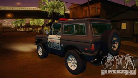Ford Bronco 1966 Sheriff для GTA San Andreas вид сзади слева