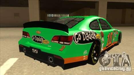 Chevrolet SS NASCAR No. 10 Go Daddy для GTA San Andreas вид справа