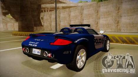 Porsche Carrera GT 2004 Police Blue для GTA San Andreas вид справа