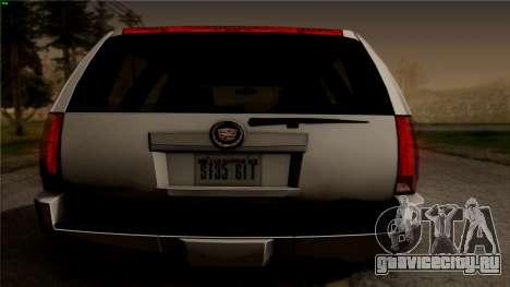 Cadillac Escalade для GTA San Andreas вид сзади слева