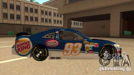 Toyota Camry NASCAR No. 93 Burger King Dr Pepper для GTA San Andreas вид сзади слева