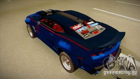 Chevrolet Camaro ZL1 Elite для GTA San Andreas вид сзади